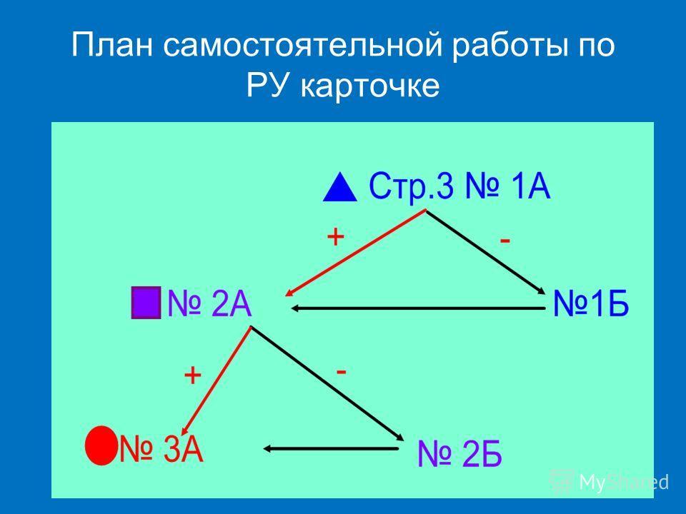 План самостоятельной работы по РУ карточке