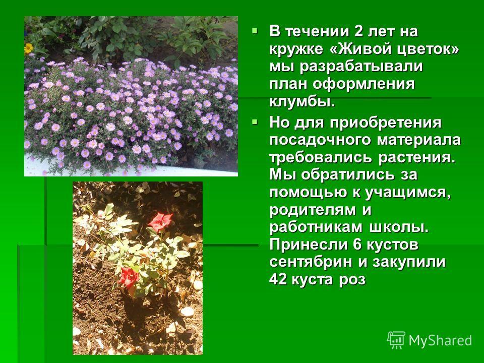 В течении 2 лет на кружке «Живой цветок» мы разрабатывали план оформления клумбы. В течении 2 лет на кружке «Живой цветок» мы разрабатывали план оформления клумбы. Но для приобретения посадочного материала требовались растения. Мы обратились за помощ
