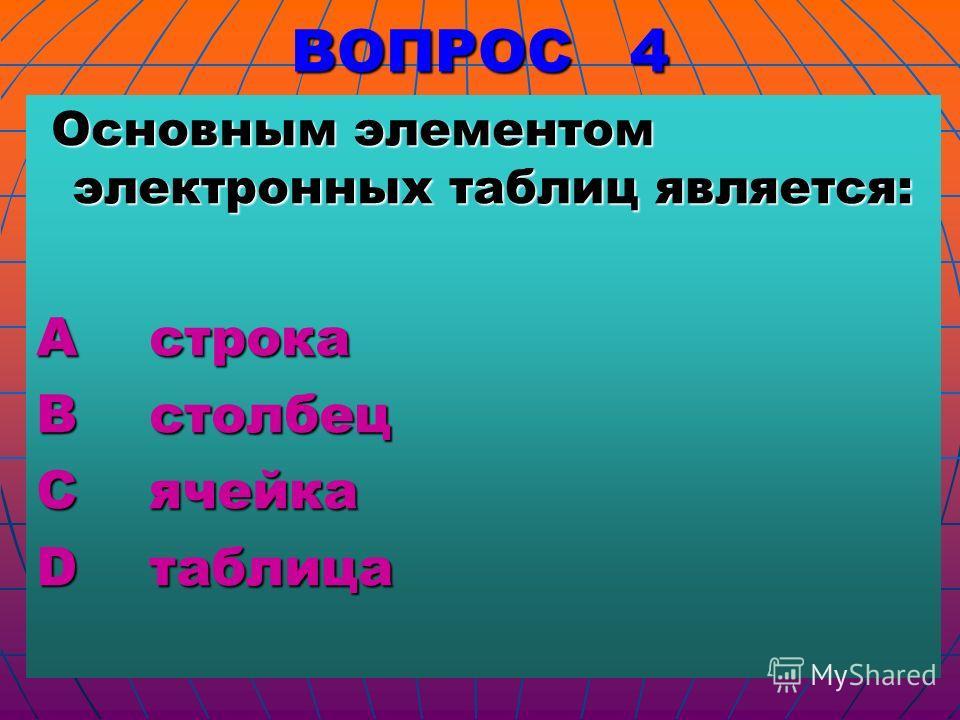 ВОПРОС 4 Основным элементом электронных таблиц является: Основным элементом электронных таблиц является: А строка В столбец С ячейка D таблица