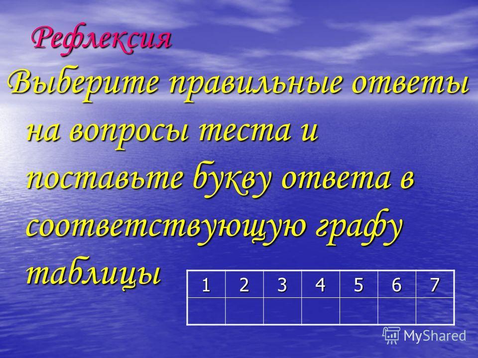 Рефлексия Выберите правильные ответы на вопросы теста и поставьте букву ответа в соответствующую графу таблицы 1234567