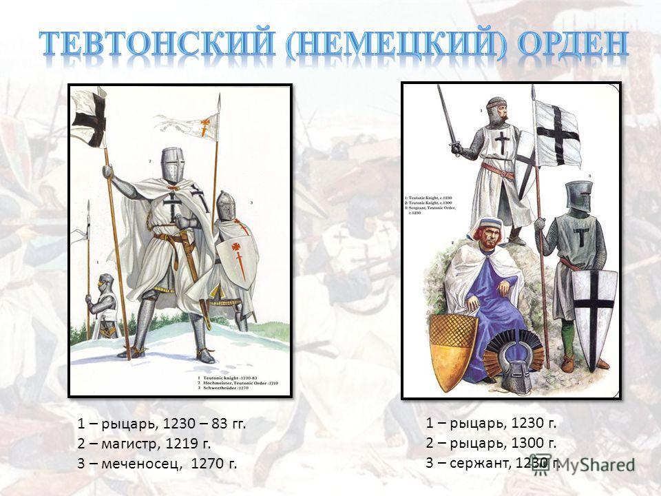 1 – рыцарь, 1230 г. 2 – рыцарь, 1300 г. 3 – сержант, 1230 г. 1 – рыцарь, 1230 – 83 гг. 2 – магистр, 1219 г. 3 – меченосец, 1270 г.