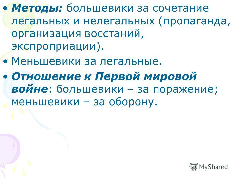 Методы: большевики за сочетание легальных и нелегальных (пропаганда, организация восстаний, экспроприации). Меньшевики за легальные. Отношение к Первой мировой войне: большевики – за поражение; меньшевики – за оборону.