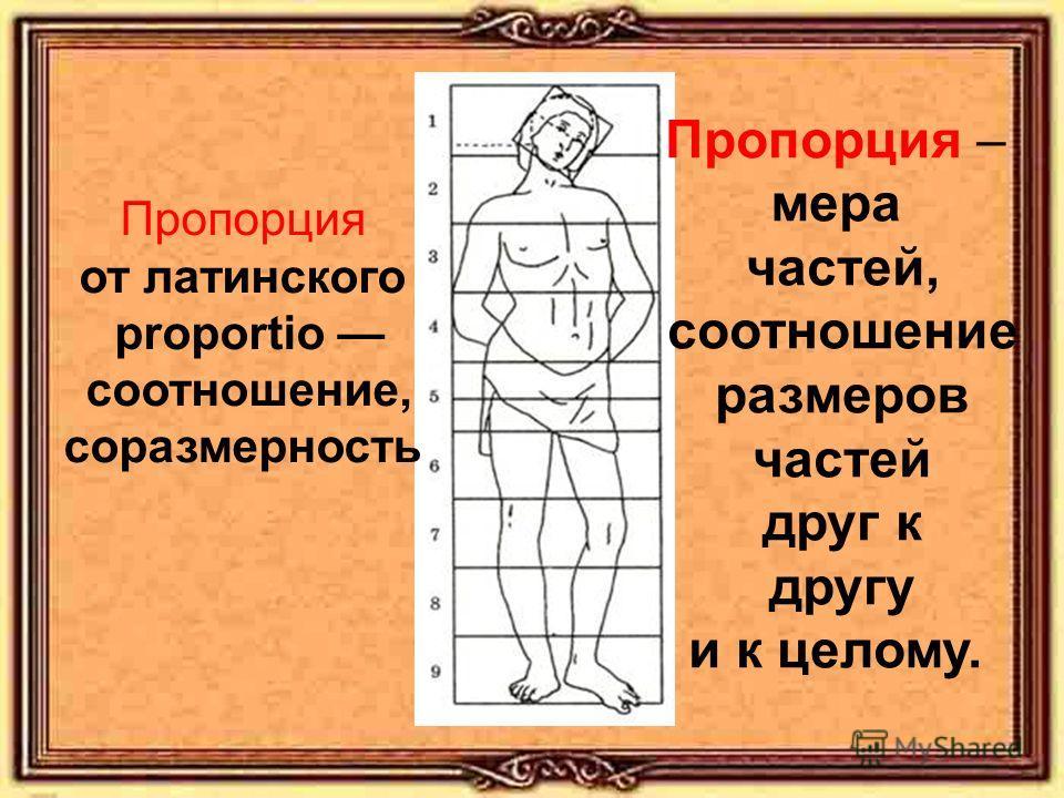 Пропорция от латинского proportio соотношение, соразмерность Пропорция – мера частей, соотношение размеров частей друг к другу и к целому.