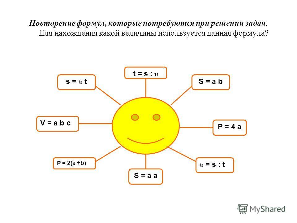 Повторение формул, которые потребуются при решении задач. Для нахождения какой величины используется данная формула? S = a b P = 4 a υ = s : t P = 2(a +b) V = a b c s = υ t t = s : υ S = a a