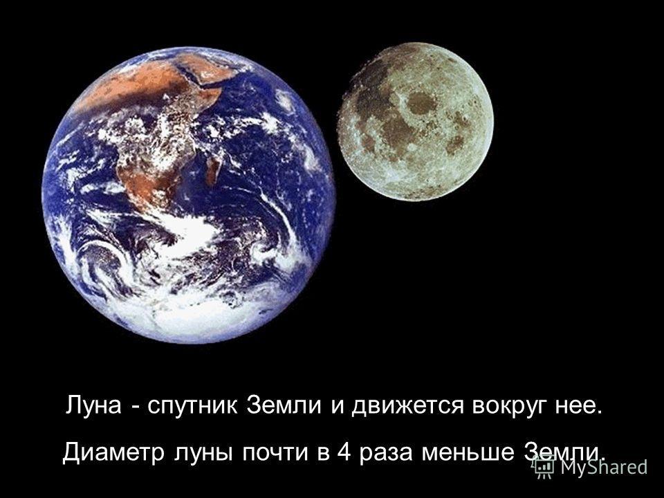 Луна - спутник Земли и движется вокруг нее. Диаметр луны почти в 4 раза меньше Земли.