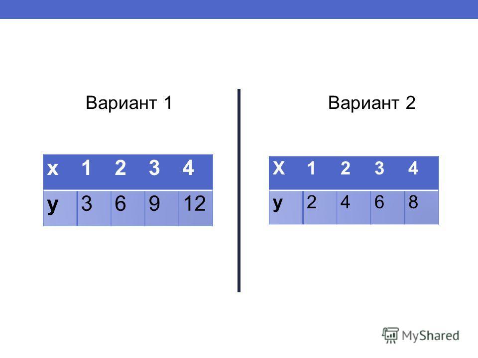 Вариант 1 Вариант 2 х1234 у36912 Х1234 у2468