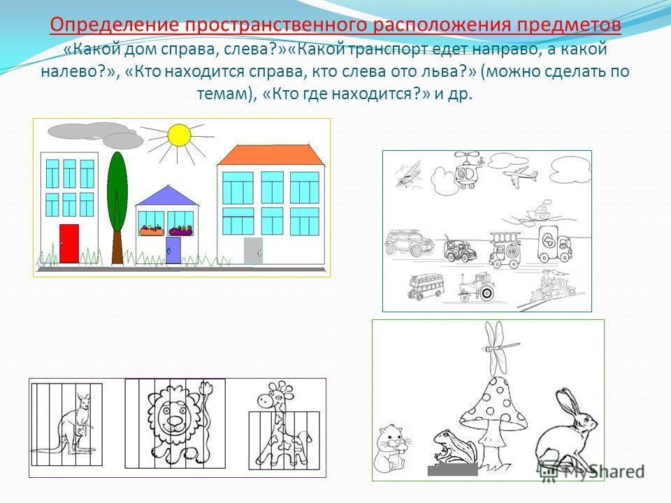 Определение пространственного расположения предметов «Какой дом справа, слева?»«Какой транспорт едет направо, а какой налево?», «Кто находится справа, кто слева ото льва?» (можно сделать по темам), «Кто где находится?» и др.