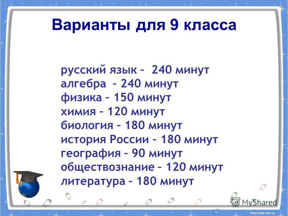 Варианты для 9 класса русский язык – 240 минут алгебра – 240 минут физика – 150 минут химия – 120 минут биология – 180 минут история России – 180 минут география – 90 минут обществознание – 120 минут литература – 180 минут