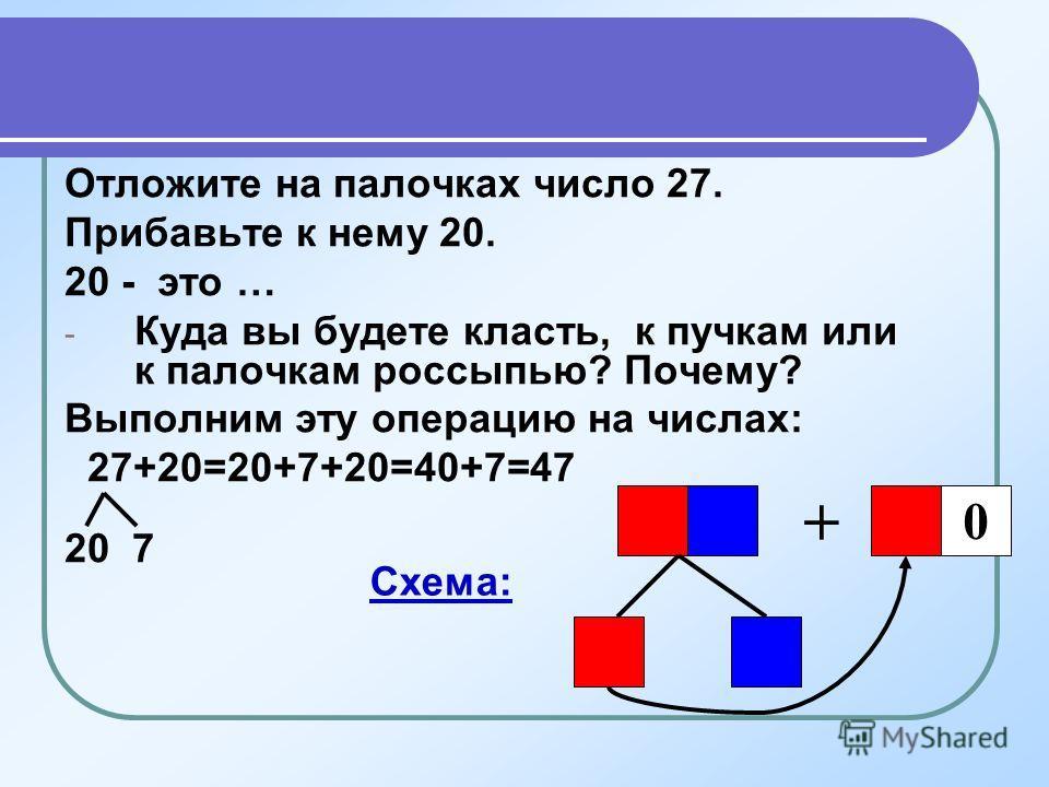 Отложите на палочках число 27. Прибавьте к нему 20. 20 - это … - Куда вы будете класть, к пучкам или к палочкам россыпью? Почему? Выполним эту операцию на числах: 27+20=20+7+20=40+7=47 20 7 + 0 Схема: