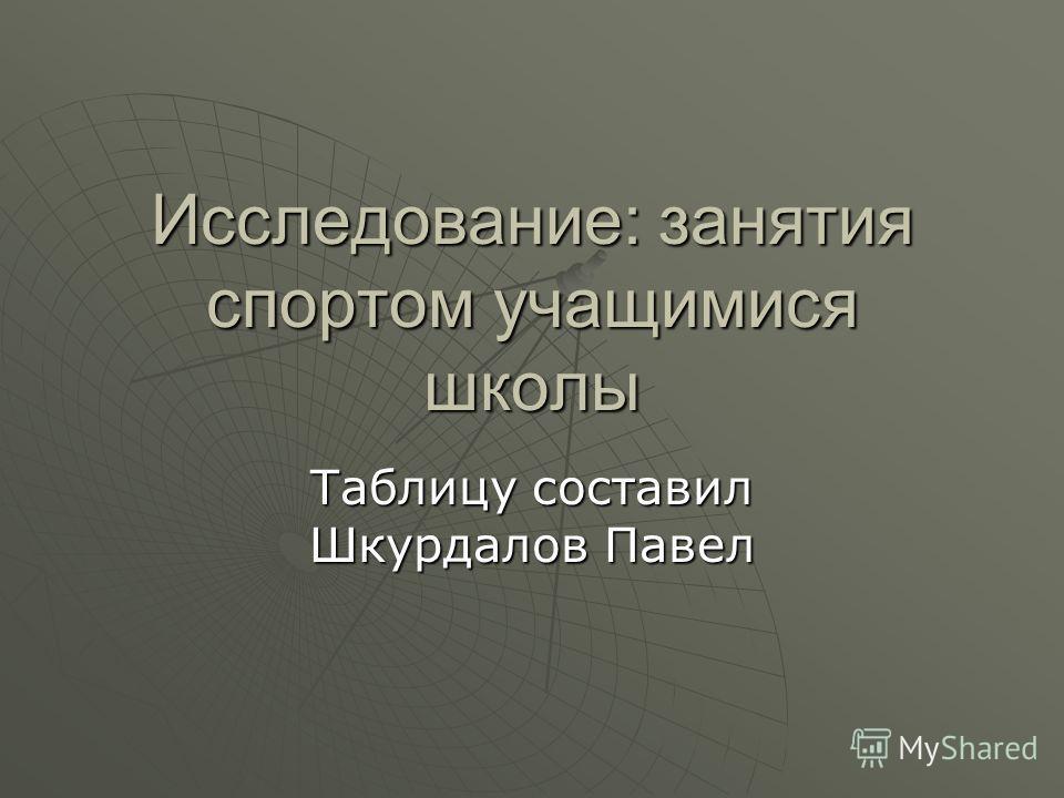 Исследование: занятия спортом учащимися школы Таблицу составил Шкурдалов Павел