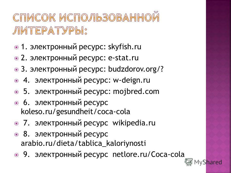 1. электронный ресурс: skyfish.ru 2. электронный ресурс: e-stat.ru 3. электронный ресурс: budzdorov.org/? 4. электронный ресурс: w-deign.ru 5. электронный ресурс: mojbred.com 6. электронный ресурс koleso.ru/gesundheit/coca-cola 7. электронный ресурс