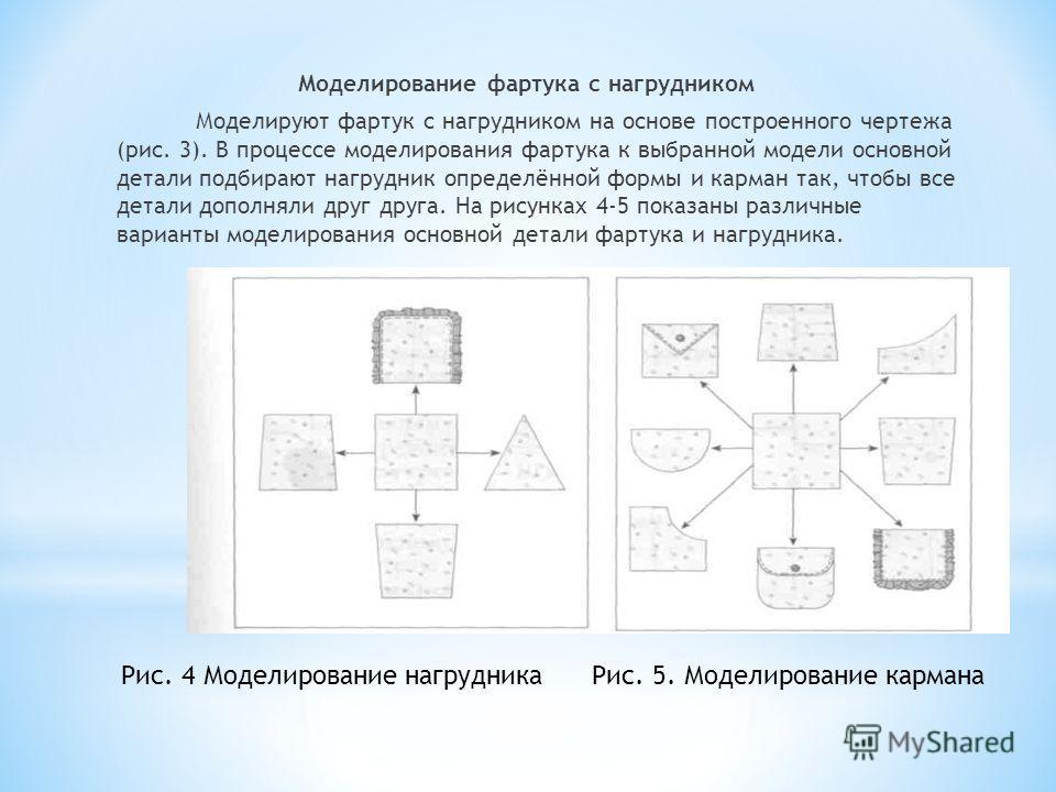Моделирование фартука с нагрудником Моделируют фартук с нагрудником на основе построенного чертежа (рис. 3). В процессе моделирования фартука к выбранной модели основной детали подбирают нагрудник определённой формы и карман так, чтобы все детали доп