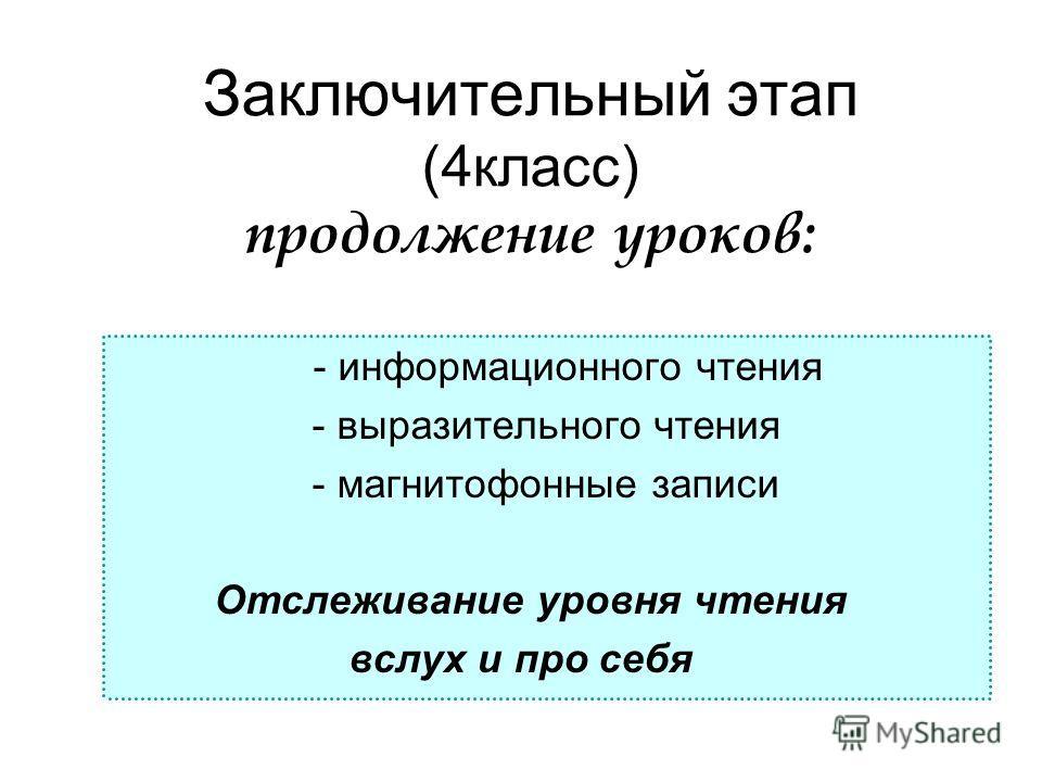 Заключительный этап (4класс) продолжение уроков: - информационного чтения - выразительного чтения - магнитофонные записи Отслеживание уровня чтения вслух и про себя