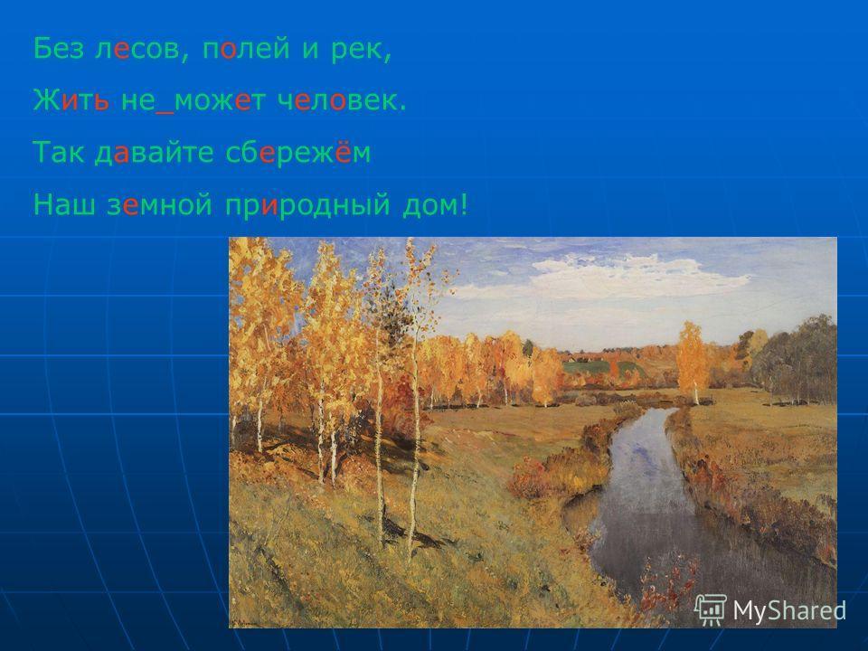 Без лесов, полей и рек, Жить не_может человек. Так давайте сбережём Наш земной природный дом!