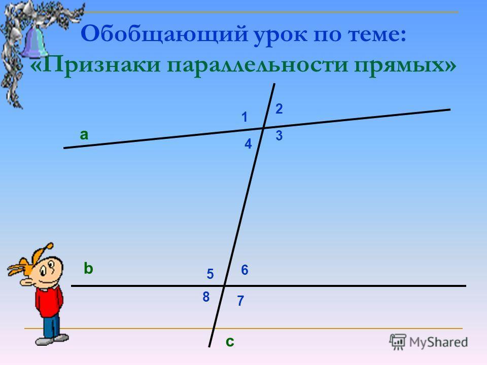 Обобщающий урок по теме: «Признаки параллельности прямых» а b 1 2 3 4 5 6 7 8 c