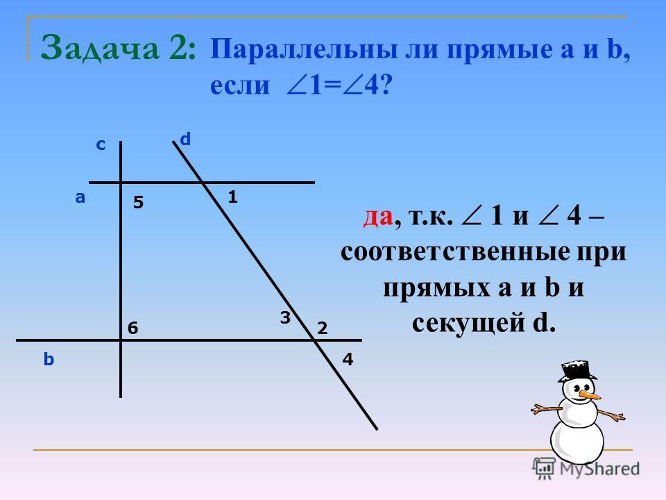 Задача 2: Параллельны ли прямые a и b, если 1= 4? с d a b 5 6 1 2 3 4 да, т.к. 1 и 4 – соответственные при прямых а и b и секущей d.