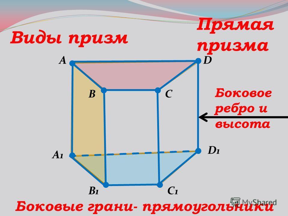 A B C1C1 D A1A1 B1B1 D1D1 C Виды призм Прямая призма Боковые грани- прямоугольники Боковое ребро и высота