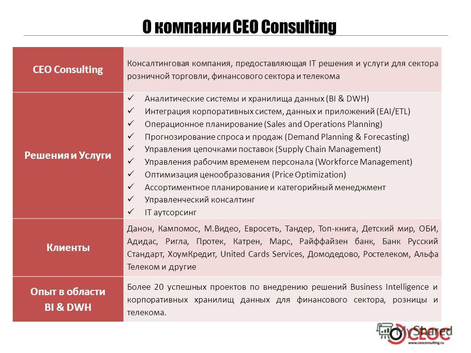 О компании CEO Consulting CEO Consulting Консалтинговая компания, предоставляющая IT решения и услуги для сектора розничной торговли, финансового сектора и телекома Решения и Услуги Аналитические системы и хранилища данных (BI & DWH) Интеграция корпо