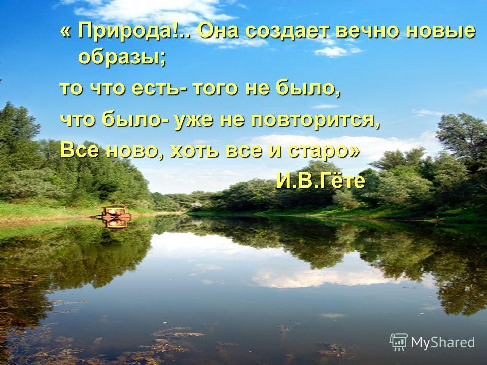 « Природа!.. Она создает вечно новые образы; то что есть- того не было, что было- уже не повторится, Все ново, хоть все и старо» И.В.Гёте И.В.Гёте