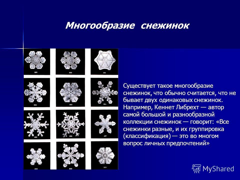 Существует такое многообразие снежинок, что обычно считается, что не бывает двух одинаковых снежинок. Например, Кеннет Либрехт автор самой большой и разнообразной коллекции снежинок говорит: «Все снежинки разные, и их группировка (классификация) это