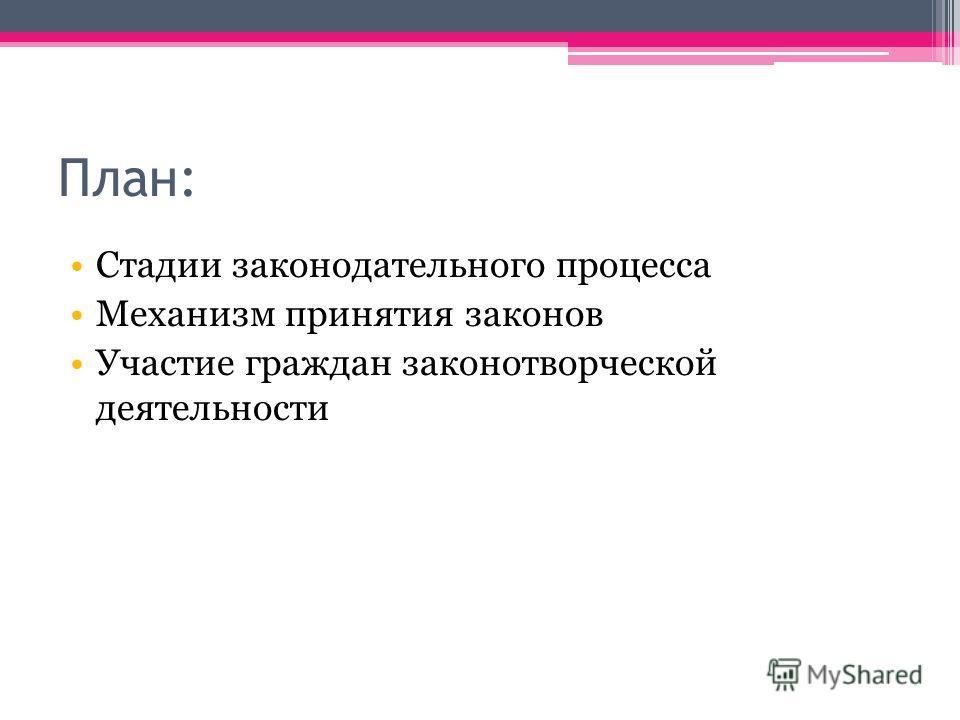 План: Стадии законодательного процесса Механизм принятия законов Участие граждан законотворческой деятельности
