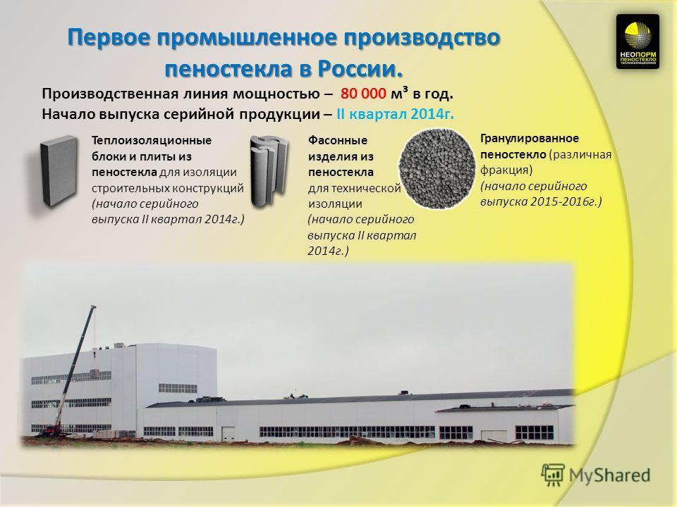 Первое промышленное производство пеностекла в России. Производственная линия мощностью – 80 000 м³ в год. Начало выпуска серийной продукции – II квартал 2014г. Теплоизоляционные блоки и плиты из пеностекла для изоляции строительных конструкций (начал
