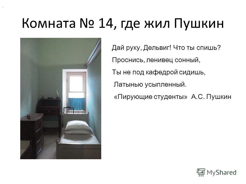 Комната 14, где жил Пушкин. Дай руку, Дельвиг! Что ты спишь? Проснись, ленивец сонный, Ты не под кафедрой сидишь, Латынью усыпленный. «Пирующие студенты» А.С. Пушкин