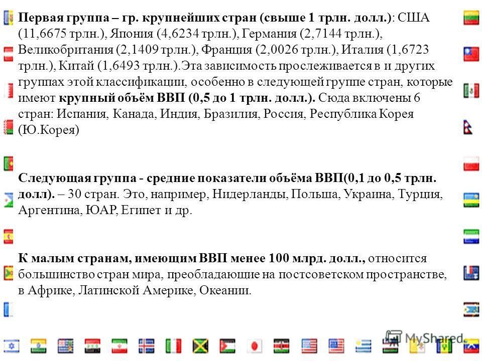 Первая группа – гр. крупнейших стран (свыше 1 трлн. долл.): США (11,6675 трлн.), Япония (4,6234 трлн.), Германия (2,7144 трлн.), Великобритания (2,1409 трлн.), Франция (2,0026 трлн.), Италия (1,6723 трлн.), Китай (1,6493 трлн.).Эта зависимость просле