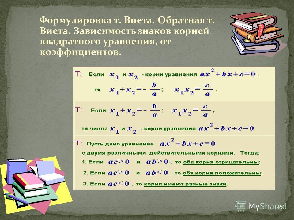 15 Формулировка т. Виета. Обратная т. Виета. Зависимость знаков корней квадратного уравнения, от коэффициентов.