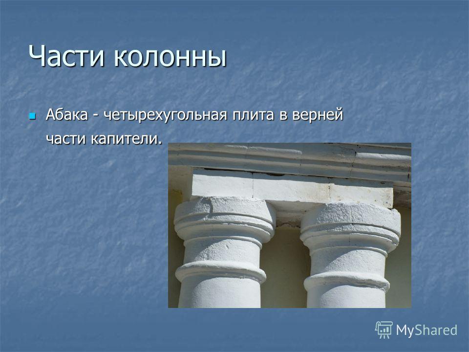 Части колонны Абака - четырехугольная плита в верней части капители. Абака - четырехугольная плита в верней части капители.