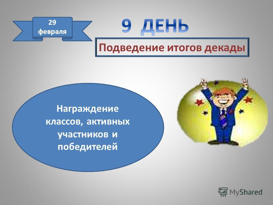 Подведение итогов декады 29 февраля Награждение классов, активных участников и победителей