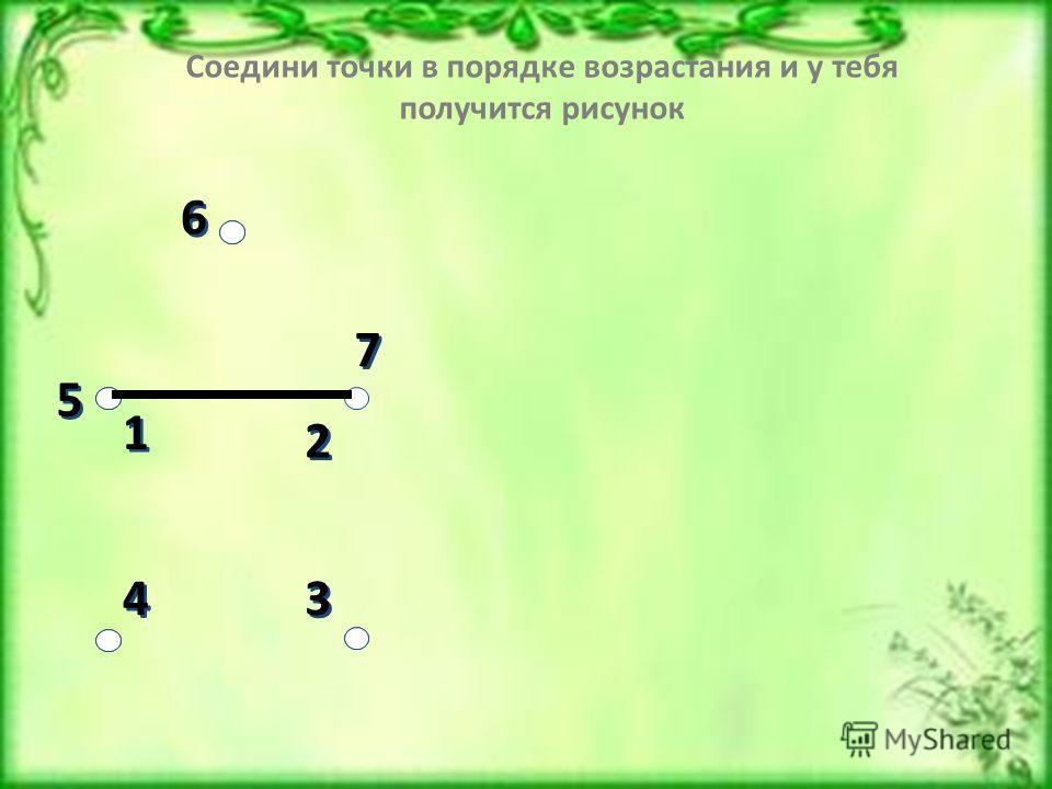 3 3 4 4 6 6 1 1 2 2 7 7 5 5 Соедини точки в порядке возрастания и у тебя получится рисунок