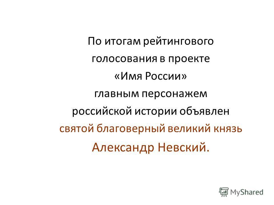 По итогам рейтингового голосования в проекте «Имя России» главным персонажем российской истории объявлен святой благоверный великий князь Александр Невский.