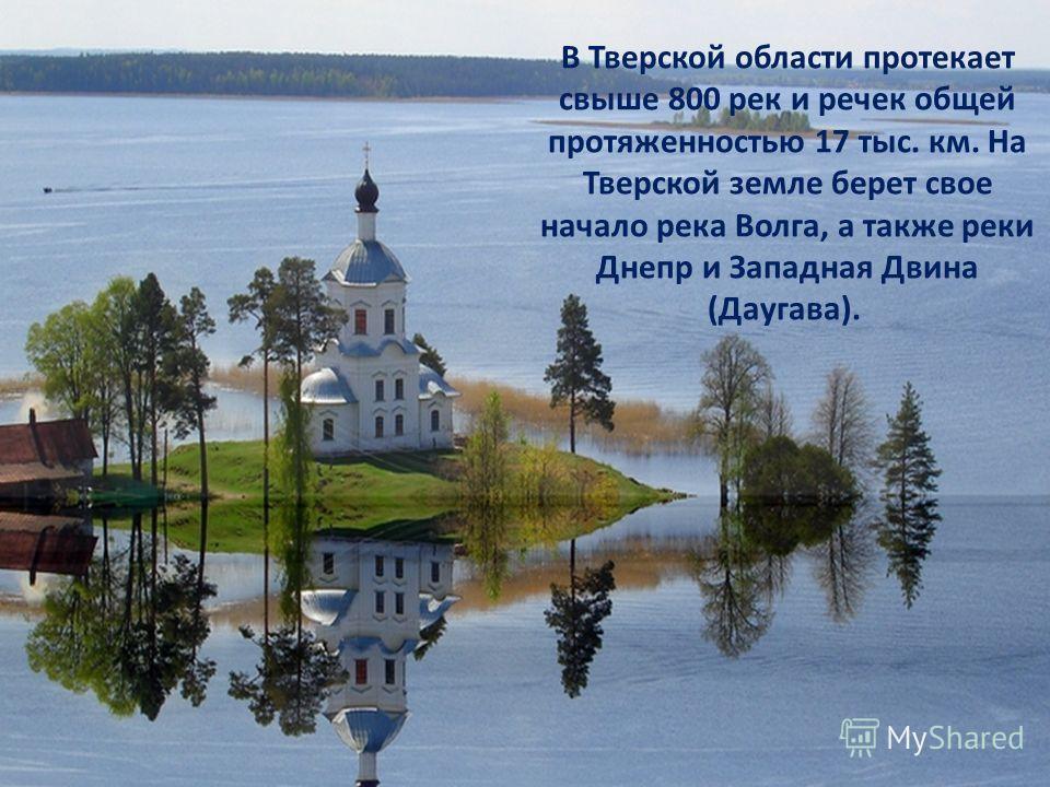 В Тверской области протекает свыше 800 рек и речек общей протяженностью 17 тыс. км. На Тверской земле берет свое начало река Волга, а также реки Днепр и Западная Двина (Даугава).