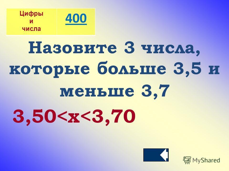 Цифры и числа 400 Назовите 3 числа, которые больше 3,5 и меньше 3,7 3,50