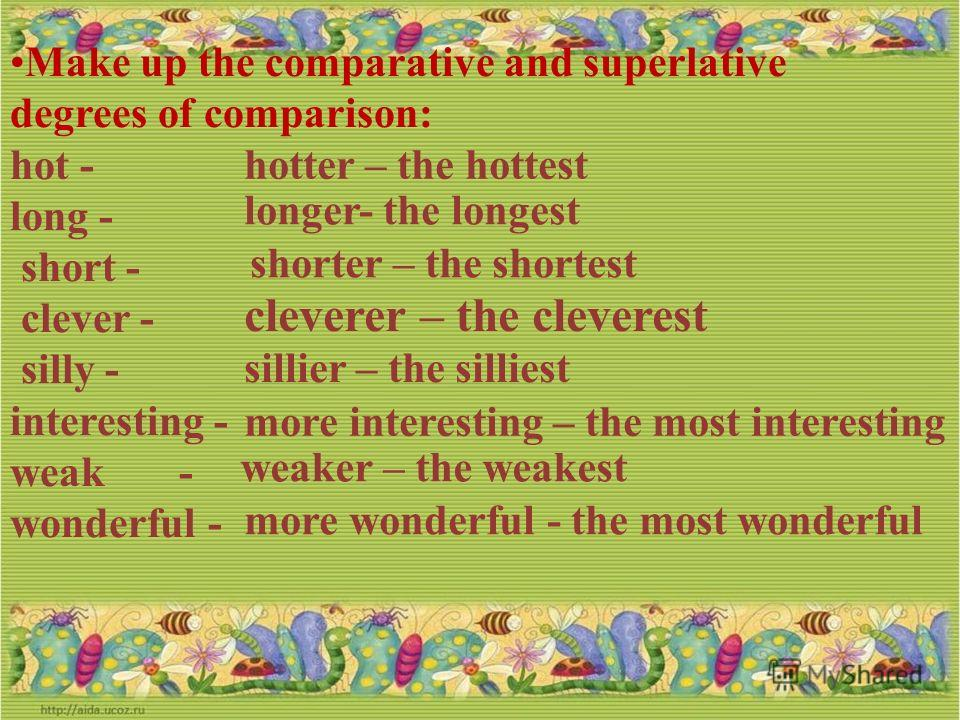 Make up the comparative and superlative degrees of comparison hot long