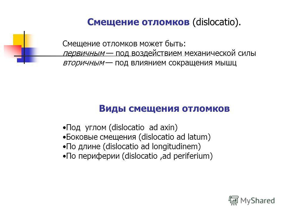 Смещение отломков (dislocatio). Смещение отломков может быть: первичным под воздействием механической силы вторичным под влиянием сокращения мышц Виды смещения отломков Под углом (dislocatio ad axin) Боковые смещения (dislocatio ad latum) По длине (d