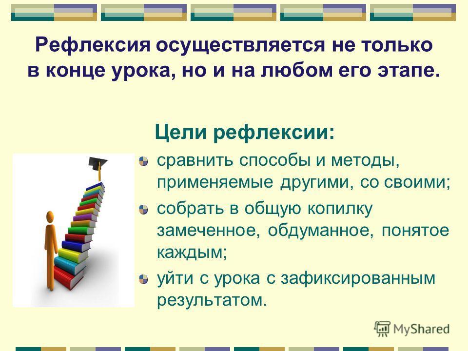Цели рефлексии: сравнить способы и методы, применяемые другими, со своими; собрать в общую копилку замеченное, обдуманное, понятое каждым; уйти с урока с зафиксированным результатом. Рефлексия осуществляется не только в конце урока, но и на любом его