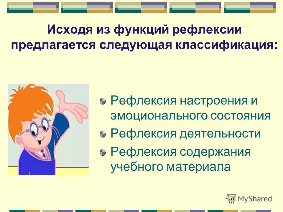 Исходя из функций рефлексии предлагается следующая классификация: Рефлексия настроения и эмоционального состояния Рефлексия деятельности Рефлексия содержания учебного материала