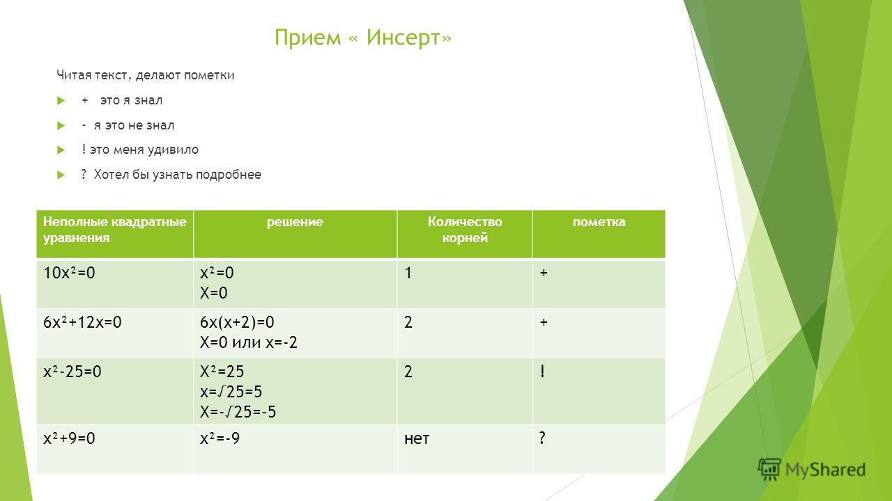 Прием « Инсерт» Читая текст, делают пометки + это я знал - я это не знал ! это меня удивило ? Хотел бы узнать подробнее Неполные квадратные уравнения решениеКоличество корней пометка 10х²=0х²=0 Х=0 1+ 6х²+12х=06х(х+2)=0 Х=0 или х=-2 2+ х²-25=0Х²=25 х