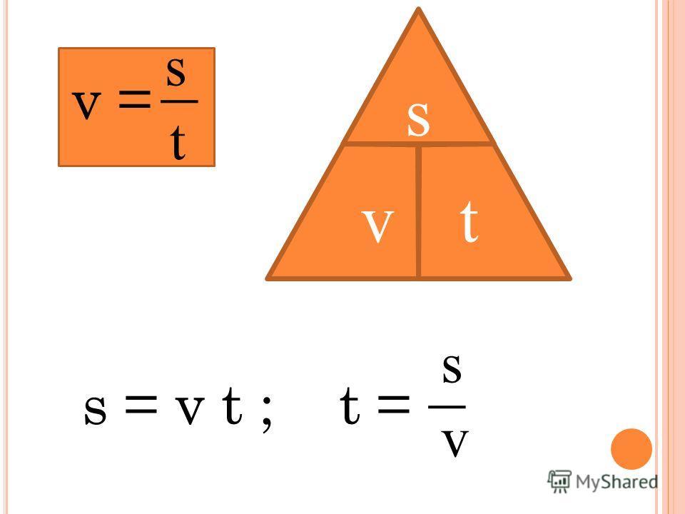 s t s v v = t =s = v t ; s vt