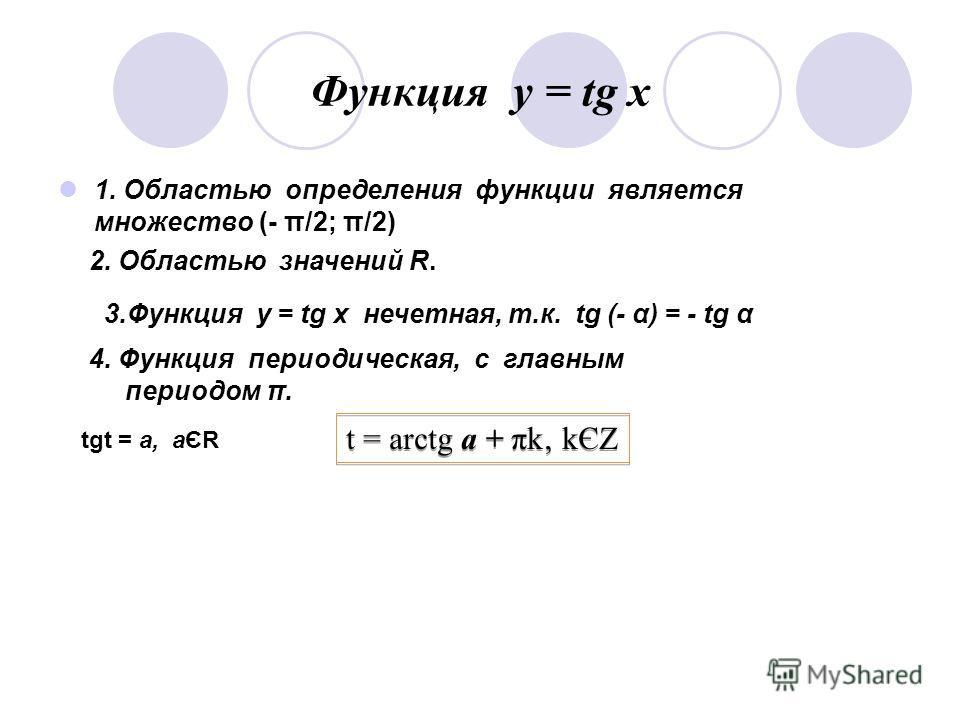 Функция у = соs x. 1. Областью определения функции является множество всех действительных чисел ( R ) 2. Областью изменений (Областью значений) - [ - 1; 1 ] 3. Функция у = cos α четная, т.к. cos (- α) = cos α 4. Функция периодическая, с главным перио