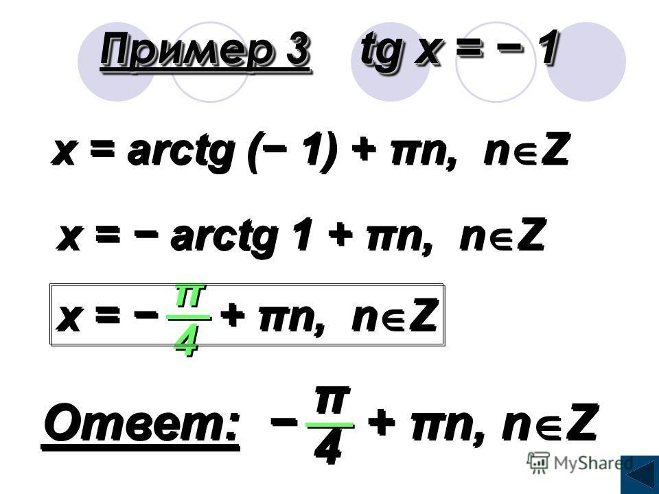 Пример 2 cos x = 1 1 2 2 x = arccos + 2πn, n Z 1 1 2 2 + + x = + 2πn, n Z π π 3 3 + + Ответ: + 2πn, n Z π π 3 3 + +