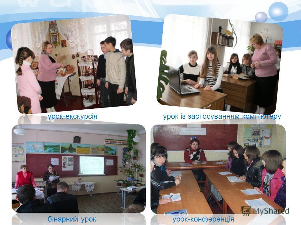 бінарний урок урок-екскурсіяурок із застосуванням комп'ютеру урок-конференція