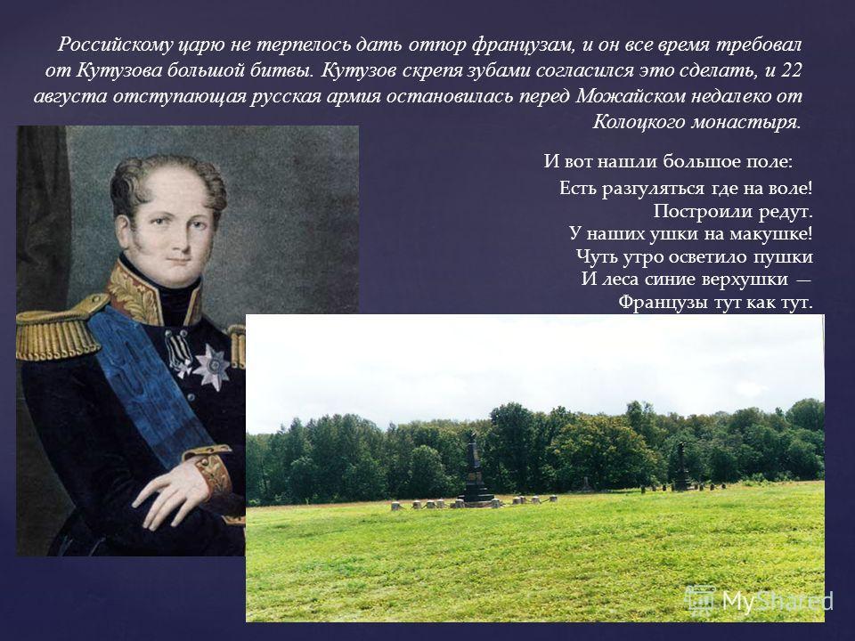 Российскому царю не терпелось дать отпор французам, и он все время требовал от Кутузова большой битвы. Кутузов скрепя зубами согласился это сделать, и 22 августа отступающая русская армия остановилась перед Можайском недалеко от Колоцкого монастыря.