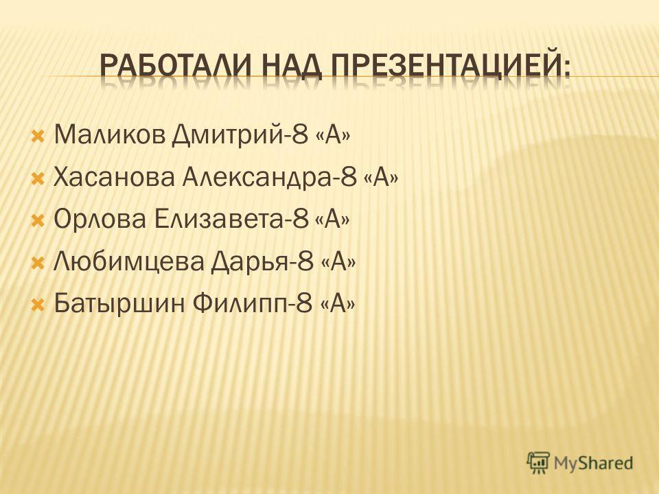 Маликов Дмитрий-8 «А» Хасанова Александра-8 «А» Орлова Елизавета-8 «А» Любимцева Дарья-8 «А» Батыршин Филипп-8 «А»