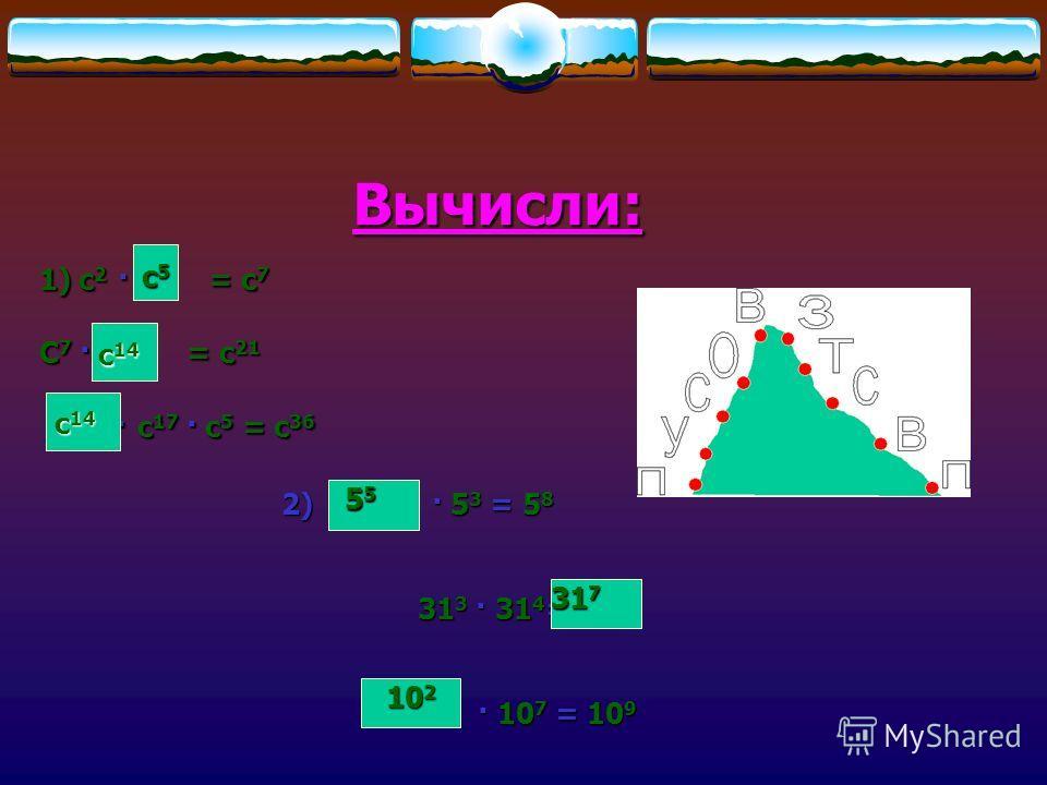 Вычисли: 1)c 2 · c = c 7 C 7 · c = c 21 c · c 17 · c 5 = c 36 c · c 17 · c 5 = c 36 c5c5c5c5 c 14 2) · 5 3 = 5 8 31 3 · 31 4 = 31 3 · 31 4 = · 10 7 = 10 9 · 10 7 = 10 9 55555555 317317317317 10 2