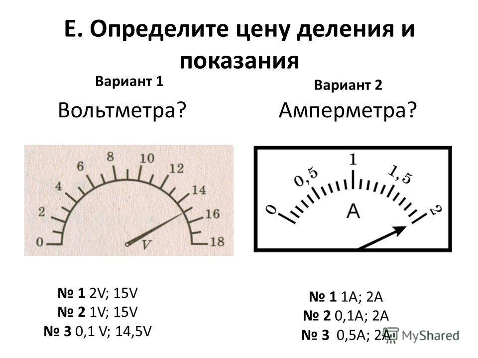 E. Определите цену деления и показания Вариант 1 Вариант 2 Амперметра?Вольтметра? 1 2V; 15V 2 1V; 15V 3 0,1 V; 14,5V 1 1А; 2А 2 0,1А; 2А 3 0,5А; 2А
