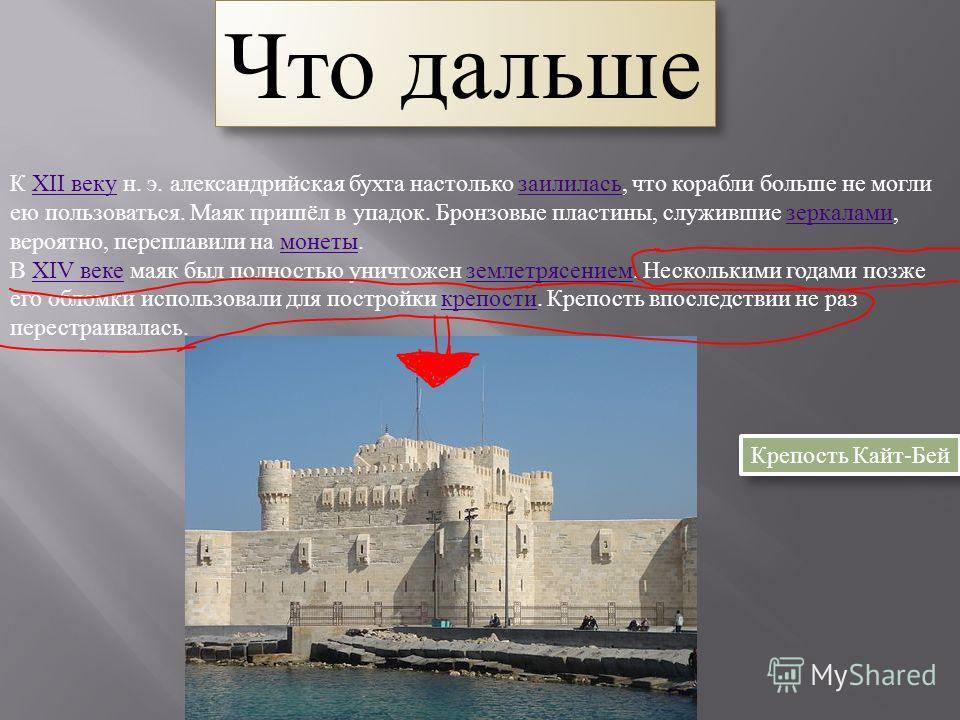 К XII веку н. э. александрийская бухта настолько заилилась, что корабли больше не могли ею пользоваться. Маяк пришёл в упадок. Бронзовые пластины, служившие зеркалами, вероятно, переплавили на монеты.XII веку заилилась зеркалами монеты В XIV веке мая