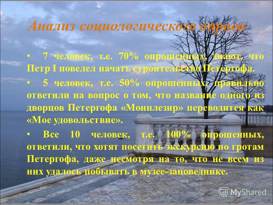 Анализ социологического опроса 7 человек, т.е. 70% опрошенных, знают, что Петр I повелел начать строительство Петергофа. 5 человек, т.е. 50% опрошенных, правильно ответили на вопрос о том, что название одного из дворцов Петергофа «Монплезир» переводи